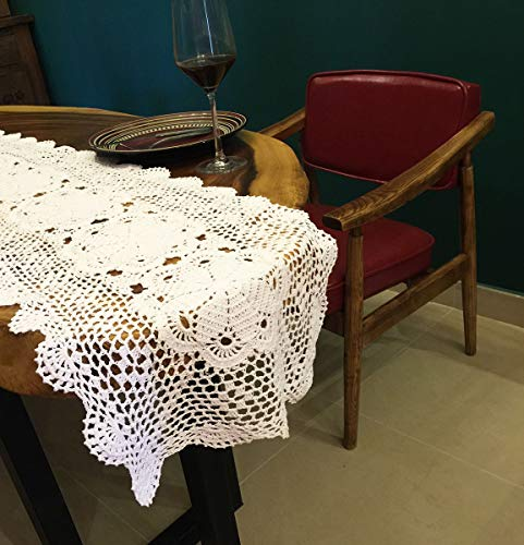 Janef White Handmade Crochet Doilies Cotton Table Runner Lace Doilies Doily Rectangle Dresser Scarves for bedrooms,16 by 63 Inches.