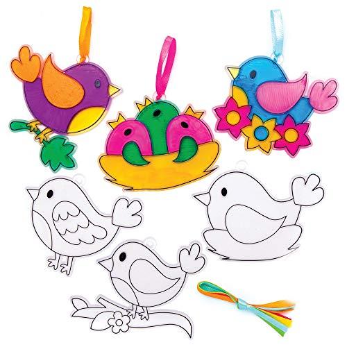 Baker Ross Vogel Fensterdeko, Bastelsets für Kinder (10er Pack)