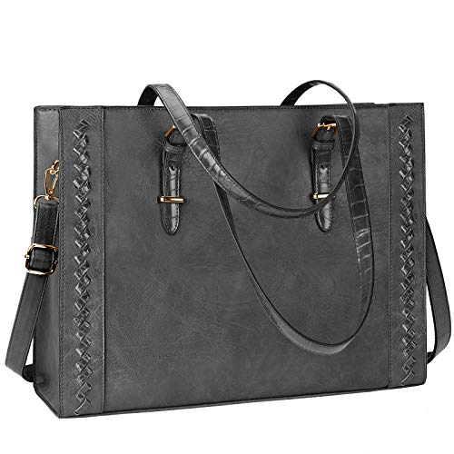 Laptop Bag for Women Waterproof Lightweight 15.6 Inch Leather Laptop Tote...