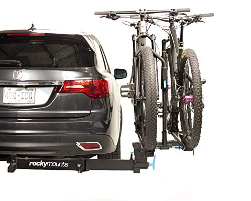 """RockyMounts BackStage 2"""" Receiver Swing Away platform hitch 2 bicycle rack. Allows full access to the rear of the vehicle with bikes on or off the rack."""
