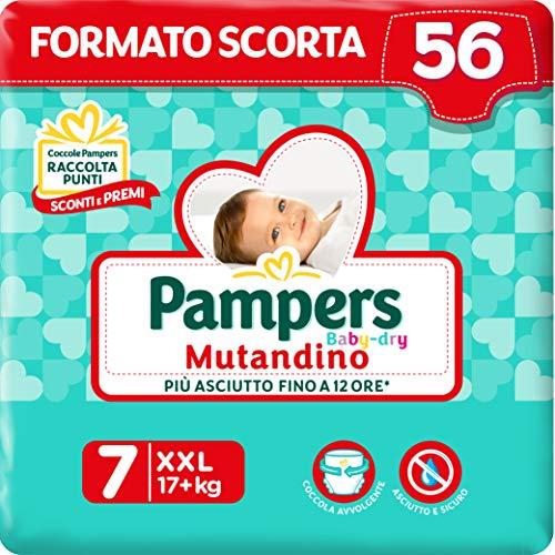 Pampers Baby Dry Mutandino XXL, 56 Pannolini, Taglia 7 (17+ Kg)