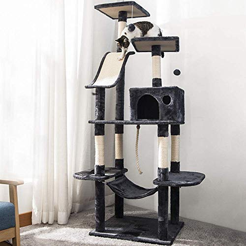 P PURLOVE Cat Tree with Scratching Posts, 170cm Cat Tower Activity Centre with Condo/Dangling Toys/Hammock, Large Cat Tree Cat Climbing Tower for Indoor Cats (Grey)