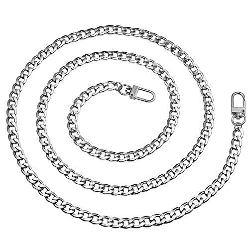 Vordas 120cm DIY Eisen Flache Kette Strap, Metallkette Schulter Riemen für Damen Handtaschen Umhängetasche (Silber)