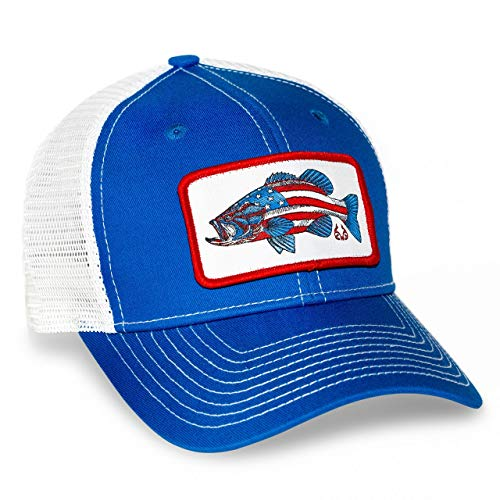 Realtree Fishing Heathered Adjustable Cap, Mesh Snap Back, Camo Pattern, Adjustable Velcro, Trucker Hats (AmerBass Mesh Blue)
