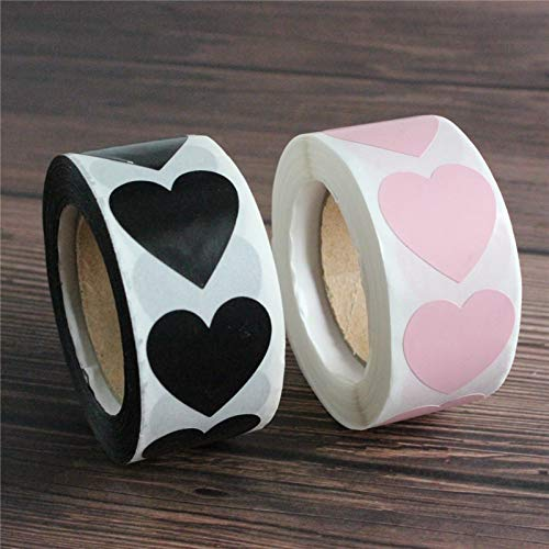 Heart stickers black and Pink Seal Labels Package Decoration Sticker envelop seals 500 pcs per roll