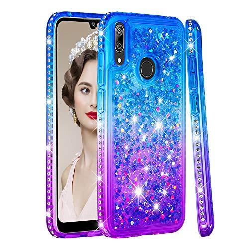 BestCatgift Gradual Changed Diamond Phone Custodia [Quicksand Liquid] Anti-Drop TPU Frame Back Cover per Huawei Y7/Y7 Prime/Y7 PRO/Enjoy 9 2019 - Blue & Purple