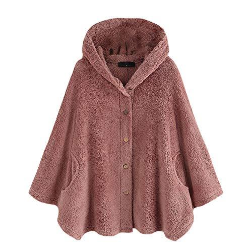 Masrin Damenmantel Wintermode Pure Color Plus Size Lose Jacke Top Wollplüsch Kapuze Button Sweater Bluse Outwear(XXXXXL,Rosa)