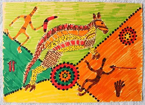 Handgemalte australische Tieraquarellkunst, Kunst der Aborigines, bemaltes Känguru, australische Motive, australisches Geschenk und Thema, Bumerang und Mensch.