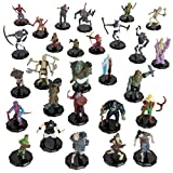 28 Painted Fantasy Mini Figures- All Unique Designs- 1' Hex-Sized Compatible with DND, D&D Dungeons and Dragons, Pathfinder, and RPG Tabletop Games- Features Goblins, Orcs, Gnolls, Skeletons & More…