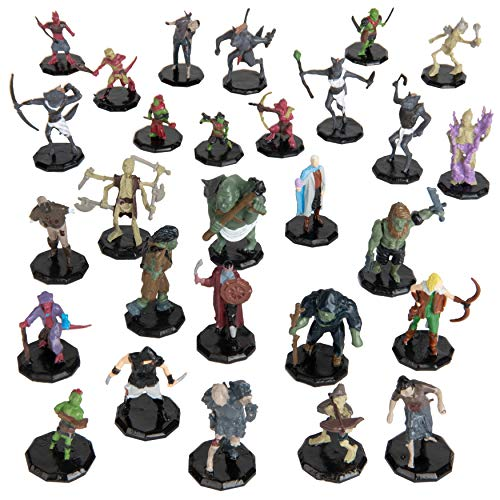 """28 Painted Fantasy Mini Figures- All Unique Designs- 1"""" Hex-Sized Compatible with DND, D&D Dungeons and Dragons, Pathfinder, and RPG Tabletop Games- Features Goblins, Orcs, Gnolls, Skeletons & More…"""
