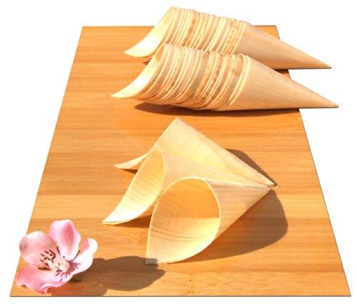 Conos de bambú para aperitivos y canapés, 100 unidades de 180x 75mm