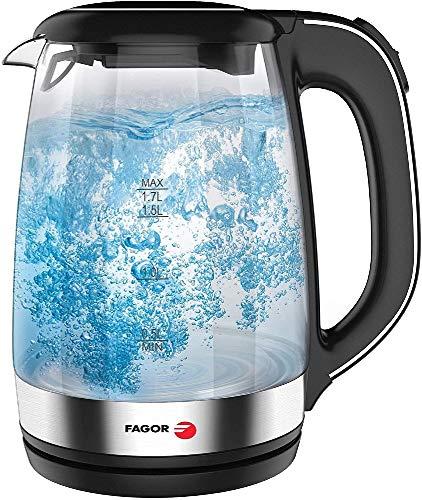 Fagor Hervidor de Agua TEYA. 2200W de potencia. Capacidad de 1.7L. Jarra de vidrio con luz led y base 230º. Asa ergonómica y filtro en la boquilla vertedora. Botón de apertura. Color negro.