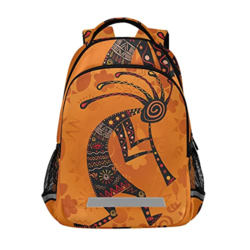 KLL Kokopelli - Ethnic African Deity School Backpack for Girls and Boys College Laptop Shoulder Bag Travel Business Work Computer Backpack