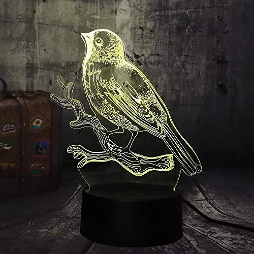 Luz nocturna de 3D LED Lámpara de Escritorio Pájaro, hola, gorrión, espacio mejor regalo de para niños y niñas Con interfaz USB, cambio de color colorido