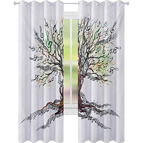 Cortinas térmicas aisladas, árbol musical otoñal, tronco de hacha remolino naturaleza ilustración...