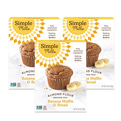 Simple Mills Almond Flour Baking Mix, Gluten Free Banana Bread Mix, Muffin Pan Ready, Made with whole foods, 3 Count, (Packaging May Vary)