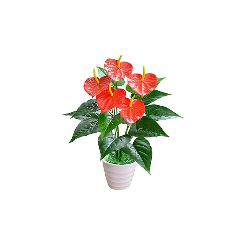 silk flower arrangements academyus 1 bouquet/18pcs leaves artificial flower anthurium simulation office decor plant
