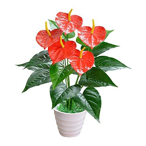 Quanjucheer, 1 bouquet artificiale con 18 fiori, fiori artificiali, non cadono e non appassiscono, decorazione per ufficio, senza vaso, Green + Red, 51 cm