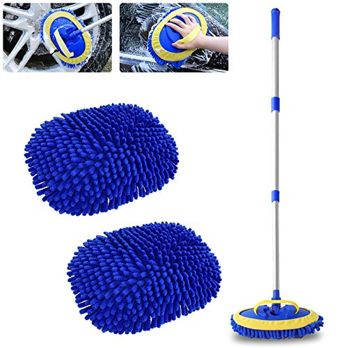 2 in 1 Chenille Microfiber Car Wash Brush Kits Mop Mitt with 45' Long Handle (Aluminum Alloy), Car Cleaning Kit Supplies Brush Duster, Scratch Free Cleaning Tool for Washing Truck, Car, RV (Blue)