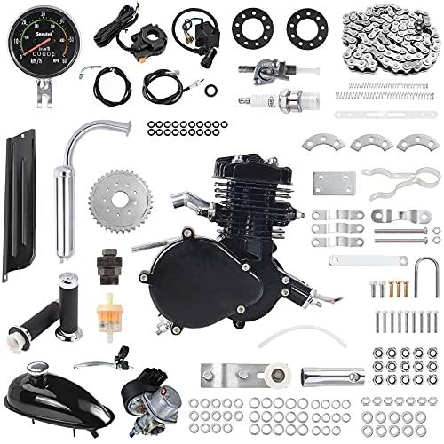 80cc Bicycle Engine Kit 2-Stroke Gas Motorized Bike Motor Kit 26' 28' Bicycle Motor Engine Kit Upgrade with Speedometer