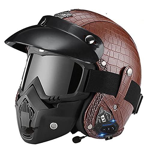 Cascos de Cuero de PU Casco de Moto Vintage de Cara Abierta con Gafas -Casco de Motocicleta Casco Medio Cubierto Casco de Seguridad para Todas Las Estaciones Marrón