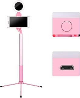 karrychen Ring Light with Stand for Vlogging Video Make-up Selfie USB Powered Selfie Stick- B#Pink