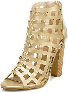 Thick Heel High-heeled Open-toe Sandals, Summer Zipper Mesh Sandals, Cutout Large Size High-top Women's Shoes