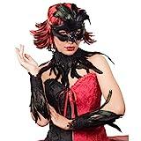 NET TOYS Edles Raben-Set mit echten Federn - Schwarz - Außergewöhnliche Damen-Accessoires mit Augenmaske, Choker, Armstulpen - Passend gekleidet für Karneval & Mottoparty