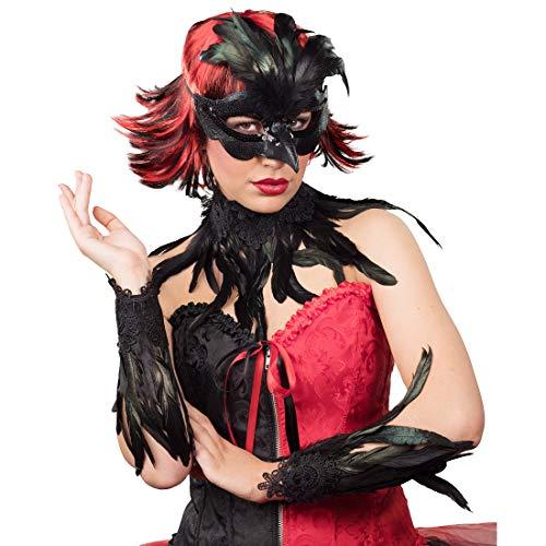 Amakando Schickes Gothic Kostüm-Zubehör Krähe / Schwarz / Vogelmaske, Halsband & Manschetten / Wie geschaffen zu Fasching & Kostümfest