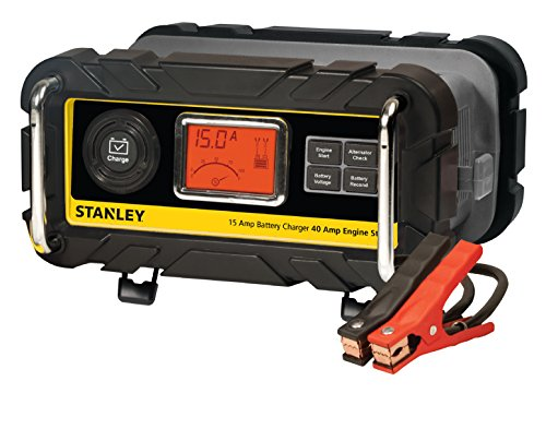 STANLEY BC15BS Fully Automatic 15 Amp 12V Bench Battery Charger/Maintainer with 40A Engine Start, Alternator Check, Cable Clamps Car Battery Charger Set