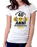 6TN Donna Maglietta in Lingua Italiana del 40 /° Anniversario del 40 /° Compleanno