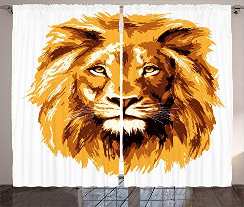 ABAKUHAUS Afrika Rustikaler Gardine, Tropen Safari Löwen Art, Schlafzimmer Kräuselband Vorhang mit Schlaufen und Haken, 280 x 225 cm, Orange Weiß