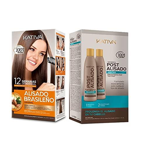 KATIVA Pack Alisado Brasileño de Keratina + Post Alisado de 2 Uds 650 ml