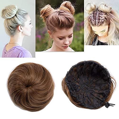 45G Rajout Cheveux Chignon Faux Chouchou de Chignon Lisse - Marron Clair - Chignon Postiche Queue de Cheval Scrunchie Hair Bun