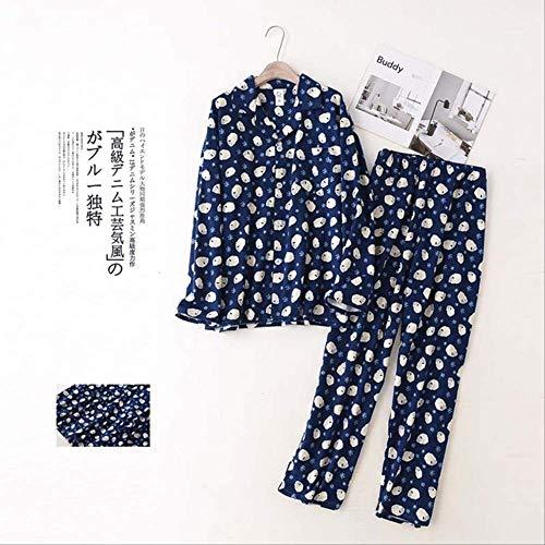 XFLOWR Herbst und Winter Herren Pyjamas Set Cartoon gedruckt Hellblau Einfacher Stil Nachtwäsche Set Vollbaumwolle Homewear Casual Wear L Marine Schaf