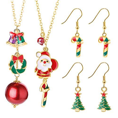 6-teiliges Weihnachts Ohrringe Halskette, Inklusive Glocken-Halskette, Ohrring für Weihnachtsfeier, Bling-Weihnachtsgeschenke für Hübsches Mädchen