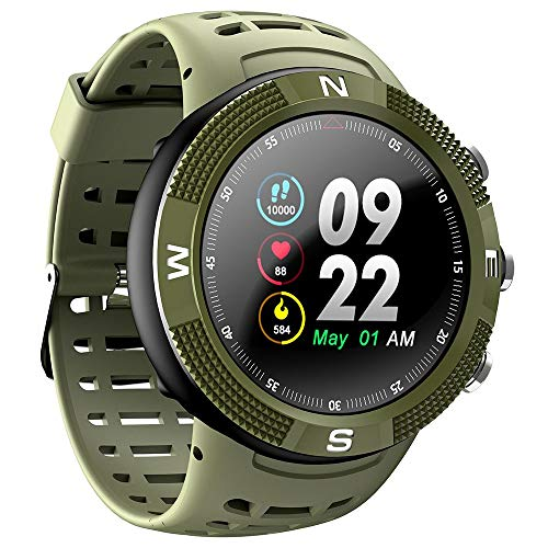 PADY-Wearable Technology NO.1 F18 Smartwatch Sports Bluetooth 4.2 IP68 Waterproof Call/Message Reminder Pedometer Sleep Monitoring (Army Green)