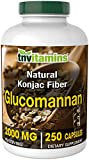 Glucomannan Capsules | 2000 MG - 250 Capsules | Natural Konjac Root Fiber Extract Powder Supplement for Weight Loss | Soluble, Dietary, & Digestive Fiber Pills | Non-GMO and Gluten Free