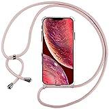 Ingen La Custodia Trasparente per Cellulare per iPhone 12Pro/iPhone 12Max con Cordino può Essere trasportata Casualmente Come Una Borsetta o Una Tracolla Quando esci-Rosa