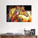 Bunten Handgemalte Tiere Kunst Gemälde Bereit Zum AufhäNgen Indisches Pferd Familie Dekoration Ölgemälde Leinwand Acrylmalerei,Noframe,70x90cm