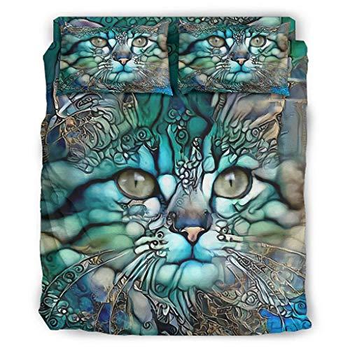 STELULI 4 Piece Bed Set Art Cat Funny Breathable Print - Bed Sets white 203x230cm