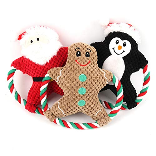 CheeseandU Christmas Dog Squeaky Plush Toys - Set of 3 Xmas Santa Gingerbread Penguin Design Throw Rope Squeaky Toys Best X-mas Interactive Chew Toy for Small Medium Pets Dogs Xmas Gift