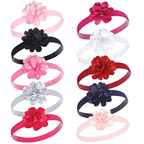 Hudson Baby Unisex Cotton and Synthetic Headbands, Satin Pink Black, 0-24 Months