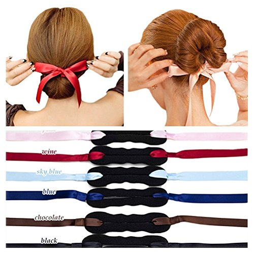 Butterme Magic Twist Bun Maker Clip Hakenhalter mit eleganten Ribbon Bogen Knot Magic Roll Ringe Donut Updo Chignon Ehemalige Pads Schaum Schwamm Haar Styler Curler Braid Pferdeschwanz Stick
