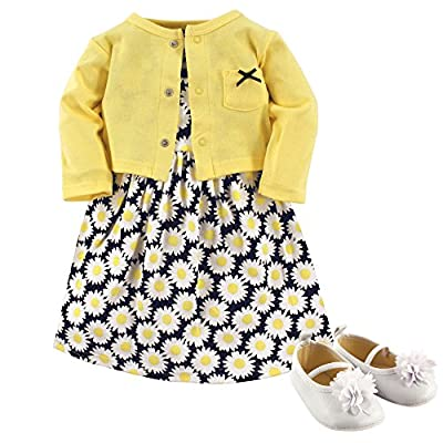 Hudson Baby Baby Girl Cotton Dress, Cardigan and Shoe Set, Daisy, 12-18 Months