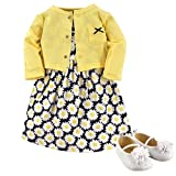 Hudson Baby Baby Girl Cotton Dress, Cardigan and Shoe Set, Daisy, 9-12 Months