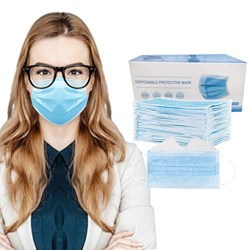 [Anti-Fog] Adults Face 𝘽𝙖𝙣𝙙𝙖𝙣𝙖𝙨- 50/100PCS - Disposable - 3Ply Ear Loop, No Washable, Breathable and Anti-Haze Dust Màsc, For Men Women (100, Blue)