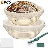 YUANZHU Canasta de Pan Amargo Set de Prueba de Masa Madre Tazón de Pan Incluye rascador de Lino y Cortador de Mango Canasta de fermentación de ratán 100% Natural para Pan casero