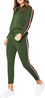 KAIXLIONLY Women Stripe Patchwork Two Piece Tracksuit Round Neck Pullover and Long Pants Sportswear