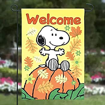 """Peanuts /""""Welcome Fall/"""" Garden Flag Snoopy 12/"""" X 18/"""" Thanksgiving Turkey"""